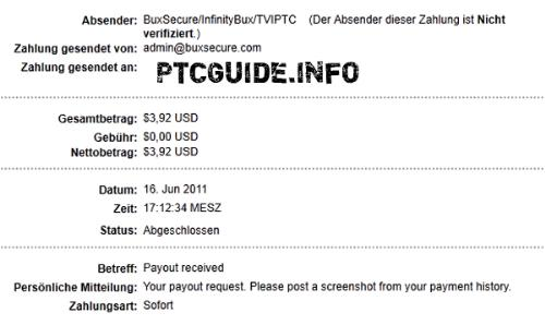 1st Payment from InfinityBux - Proof that I got paid :P
