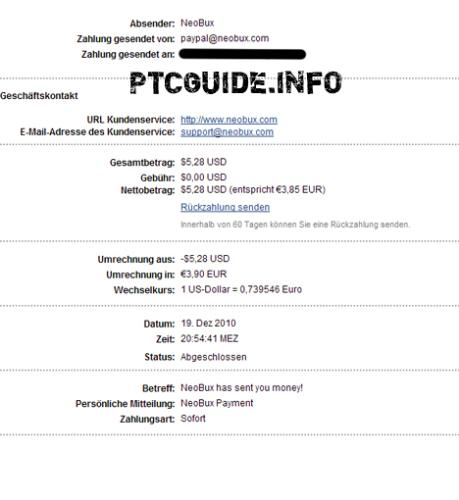A little cashout from NeoBux! - This payment was instant on my paypal account!  A little proof of NeoBux quick paying! ;-)
