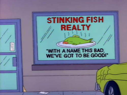 The Simpsons - Realty Sign - A funny sign from Season 4 Episode 10 'Lisa's First Word'.