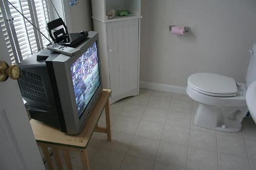 TV in Toilet  - Bored on Toilet? Why not placing TV? XD