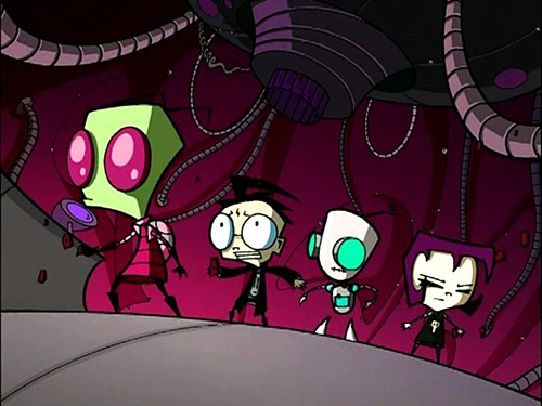 Invader Zim characters - Zim, Dib, Gir & Gaz -- Scene from the episode 'Tak, the Hideous New Girl'