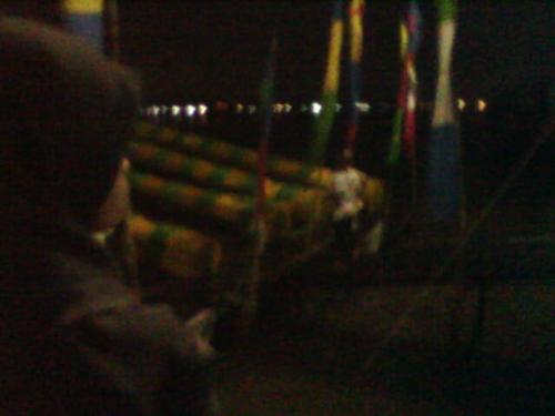 a wood cannon - that was a celebration on night during idul fitri. many people watch it, and the sound, wow. sory about the picture if it too dark.