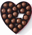 chocolate truffles - delicous milk chocolate truffles in a heart shaped box