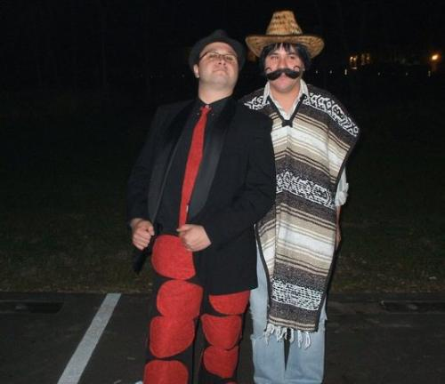My friends - My friends Chris and Hector last Halloween. Chris is a big Lady Gaga fan. He wanted a 'meat suit' to wear. Another friend who can sew,sewed red patches on Chris's pants to make it look like meat! He was so proud of it! Hecotor was dressed up as a Mexican.