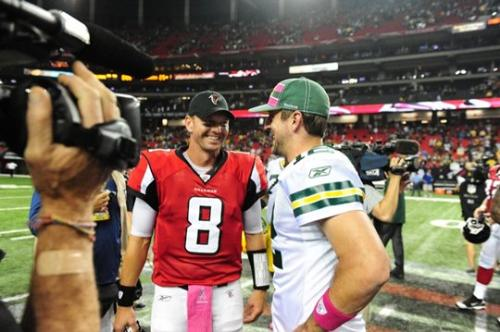 Quarterbacks - Atlanta falcons back up Chris Redman with Green Bay Packers QB Aaron Rodgers last sunday.