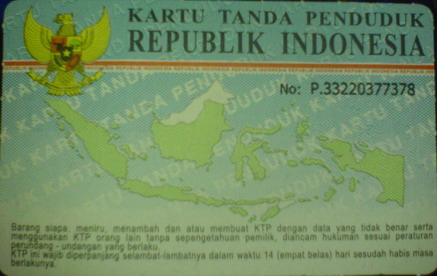 indonesian id card - it is the scanned of indonesian id card. it shows indonesian flag and map