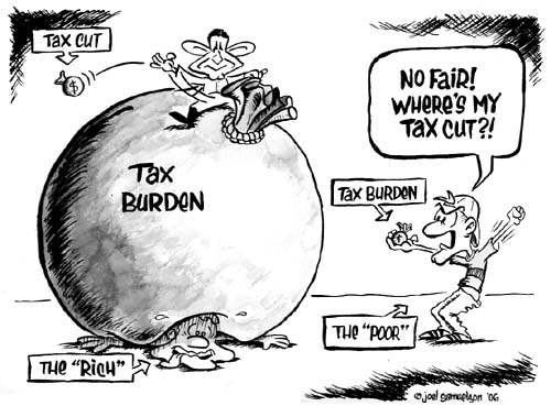 cartoon indicating the situation in the world(amer - rich are always favoured by government.