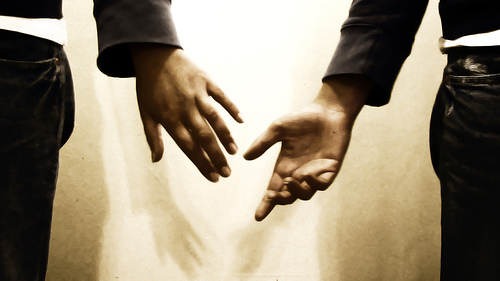 Extending hand of friendship - When we find people with good attitude and matching interests, we like to be friends.
