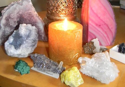 Candle lit crystals - candles lit crystals, crystals are used for spiritual and healing purposes. Talks on crystal healing and charging your crystals for this too at Mylot.