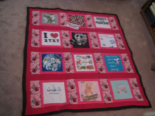 T-shirt Quilt - Just wanted to pass along the finished product! This is a t-shirt quilt I made for my GD...took 4 years to collect t-shirts that meant something to her..places she's been and favorite times in her life.