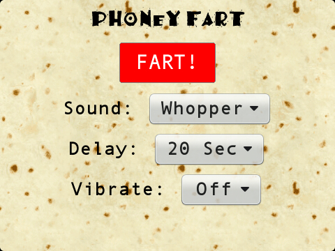 PhoneyFart BlackBerry app - A screenshot of the fart app I use to play pranks on people :-p