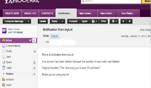 Screen Shot of myLot Email - This is one of the notifications sent to me by myLot.