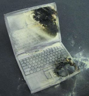 Burned Laptop - We must consider using a cooling fan whenever we use our laptop. In order to avoid incident like this.