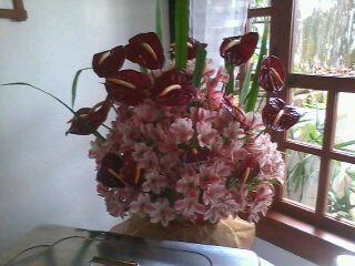 flower arrangement - beautiful flower arrangement in the corner