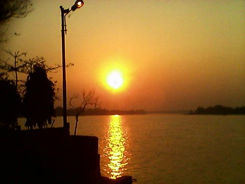 A great sunset captured by me. - A great moment captured by me. This is from beside the gana(indian river) at evening.