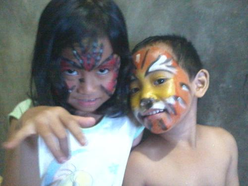 face painting  - my kids with their faces painted