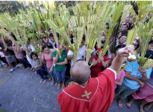 Palm Sunday - In the Roman Catholic Church,this feast now coincides with that of Passion Sunday which is the focus of the mass which follows the service of blessing of palms.