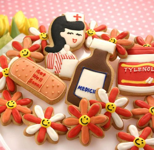 cute cookies - Get Well Soon cookies, looks so cute too! This one's for sending to sick loved ones. Cutestfood.com