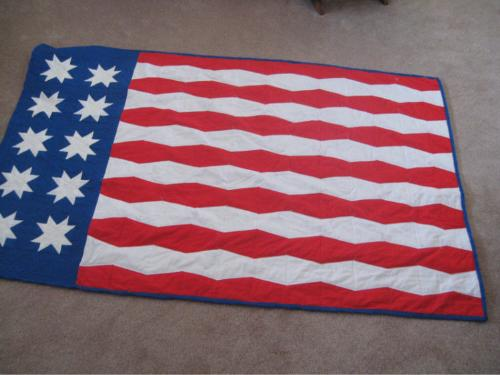 American Flag - American Flag twin bed quilt.