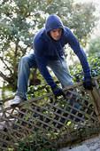 a thief on your own house :P - climbing a fence of your own