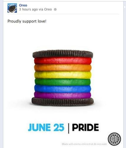 Oreo - Photo released by Oreo to show their support on gay marriage.