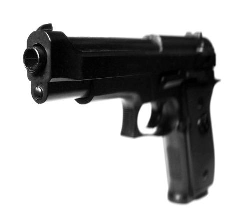 Gun - black gun, on white background.