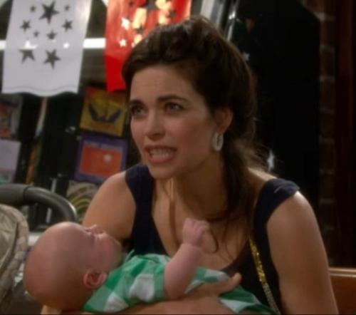 """Johnny """"playing"""" with Victoria's hair - Baby Johnny appears to be playing with Victoria's hair in their first scene on Young and the Restless on July 4, 2012"""