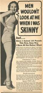 skinny girl - ads about how to add pounds and have curves