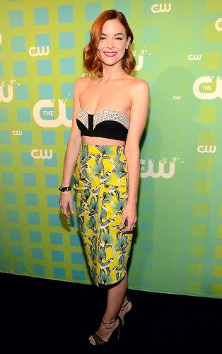 Jaime King - Jaime King wearing an odd two-piece outfit consisting of a mismatched tube top and print skirt.
