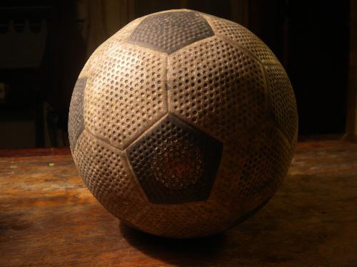 My Training Soccer Ball - Here's my soccer ball for training.... It's old, ugly and it gets flat already..   I want to buy a new one and I want to ask you guys this... What ball should I get? Do you know which ball is good for training at home... It should be a little hard skinned because if it's soft than it will easily get holes.. And please not so expensive. :)  So.. please help me by suggesting.