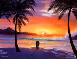 Sunset - This is a picture of sunset near the seaside with the coconut tress and orange water.