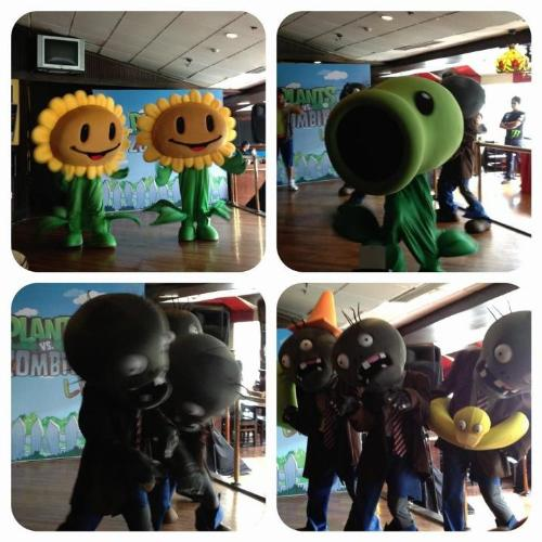 plants vs. zombies - here's a photo of the plants vs. zombies mascots. really cute huh!