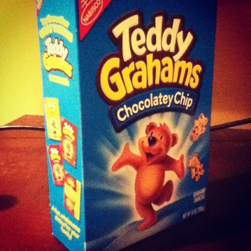 Chocolate Chip Teddy Grahams! - A box of Teddy Grahams chocolate chip flavor. They are the best snack ever.