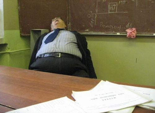 Teacher sleeping in easy way - Professor sleeping