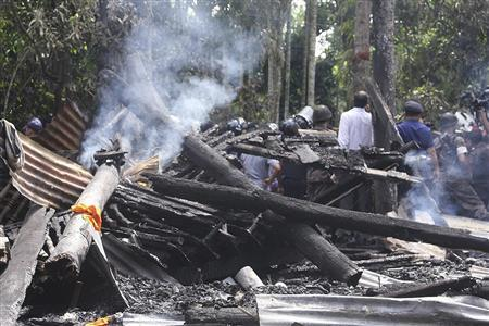 Bangladesh Aftermath - Another violent aftermath, after hundreds of Bangladesh Muslims burned down 4 Buddhist temples and 15 Buddhists' homes over a Facebook photo posted by a Buddhist is deemed to insult Islam, dated 20120930.