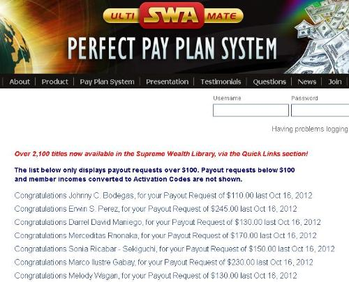 SWA Payouts - Supreme Wealth Alliance payment proofs