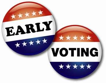 """Early Voting Button - A button displaying the words """"early voting"""""""