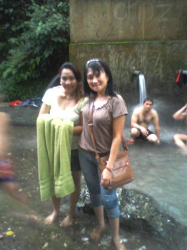 Fun by the Waterfalls's area - My boss and i at the reservoir area. At the back is her boyfriend, bathing with my other office mates.