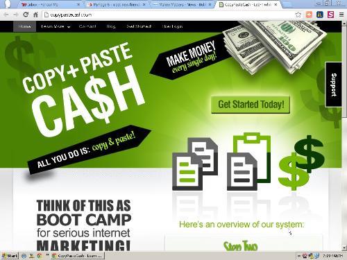 make extra money - screen shot of Copy+paste cash