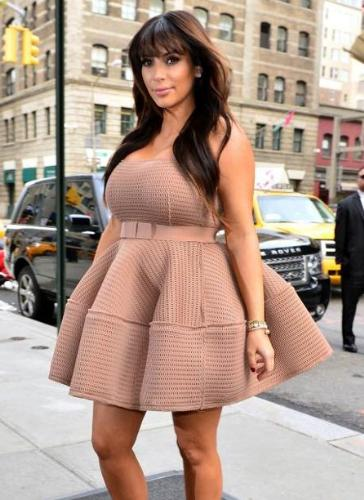 Kim Kardashian maternity dress - Kim Kardashian in a maternity dress panned by critics as a fail.