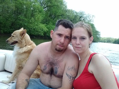 My husband and I on the boat - We had such a good day today. The first time in a LONG time that we had so much fun!