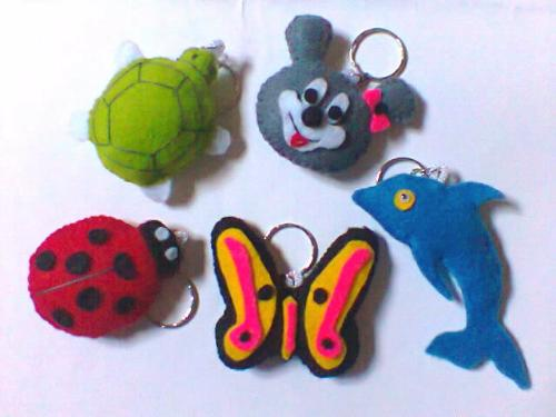 Key Chains  - I made cute key chains from flannel.