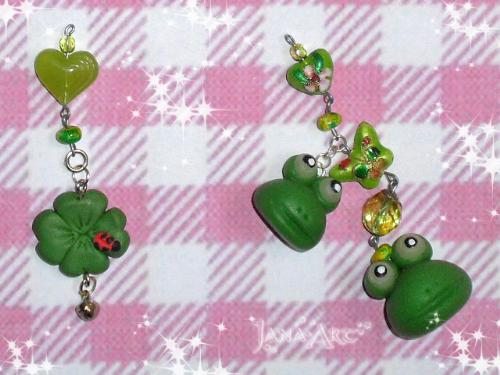 Frogs pendants - just made in cold porcelain