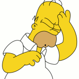 Facepalm! - Image of cartoon character Homer Simpson doing the face palm.