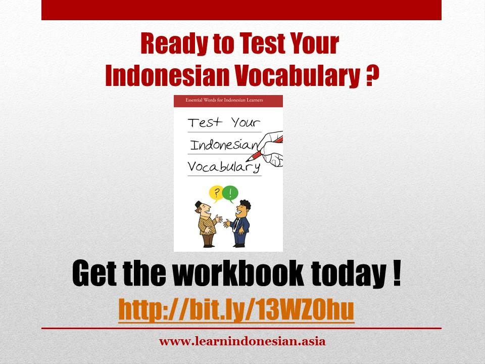 Learn Indonesian Vocabulary Book that I just bought