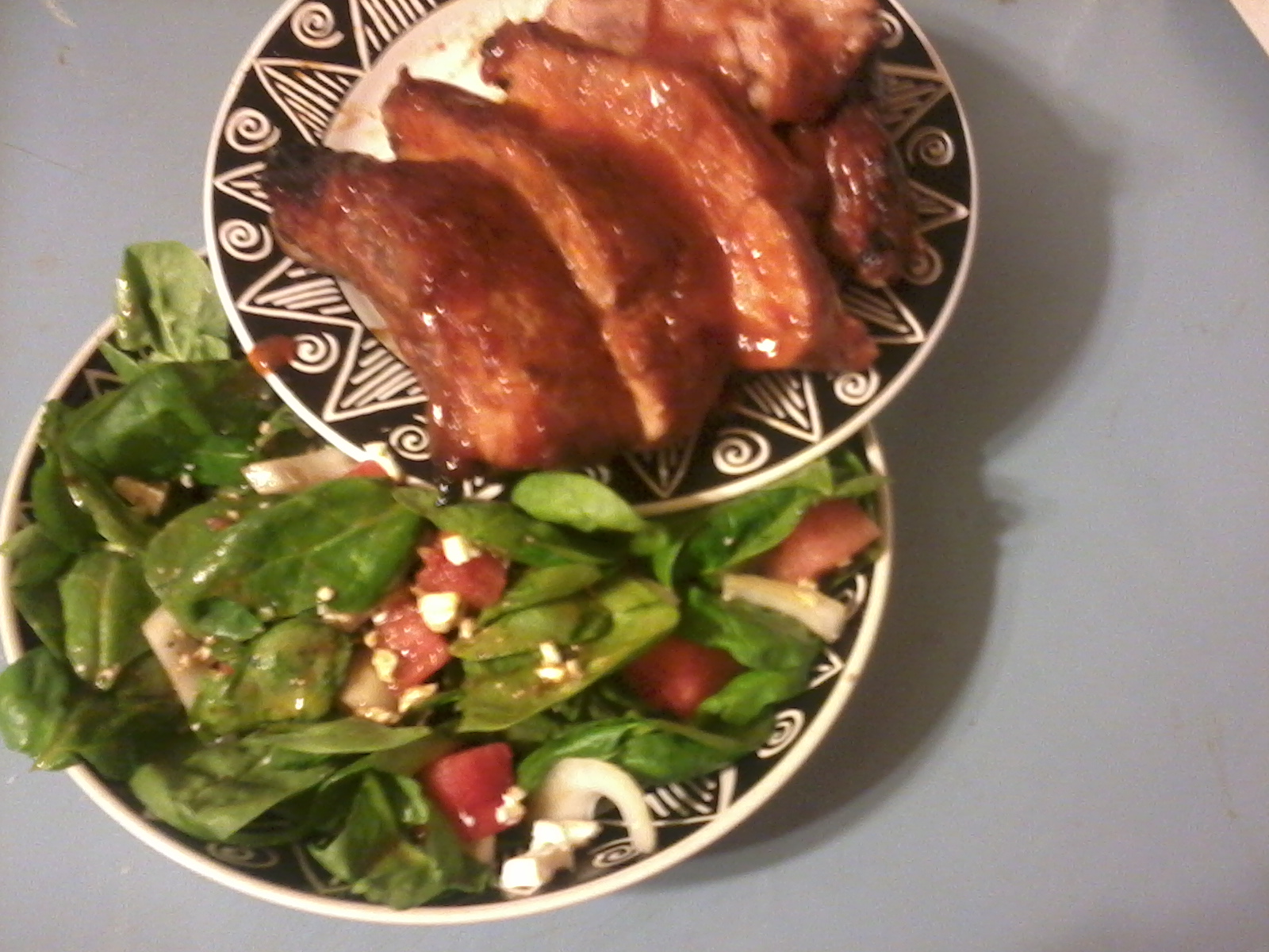 bbq ribs and watermelon salad