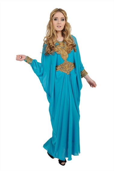 Turquoise Blue Long Sleeved Dress