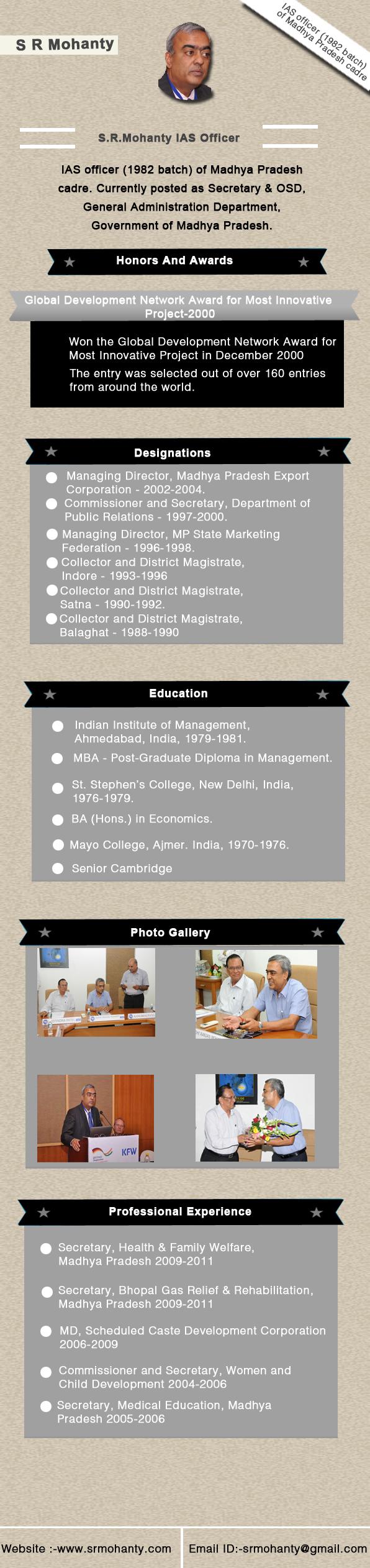 IAS S.R Mohanty Madhya Pradesh India