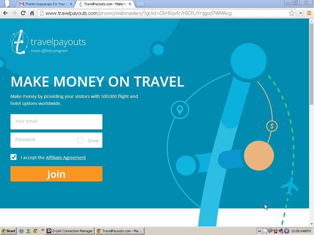 Screen shot of Travel Payouts