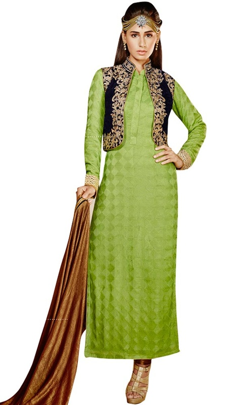 Lime Green Embroidered Georgette Long Churidar Suit